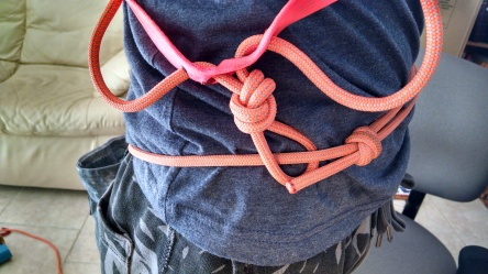 Chalk Bag Belt as keeper loop for inverted climbing
